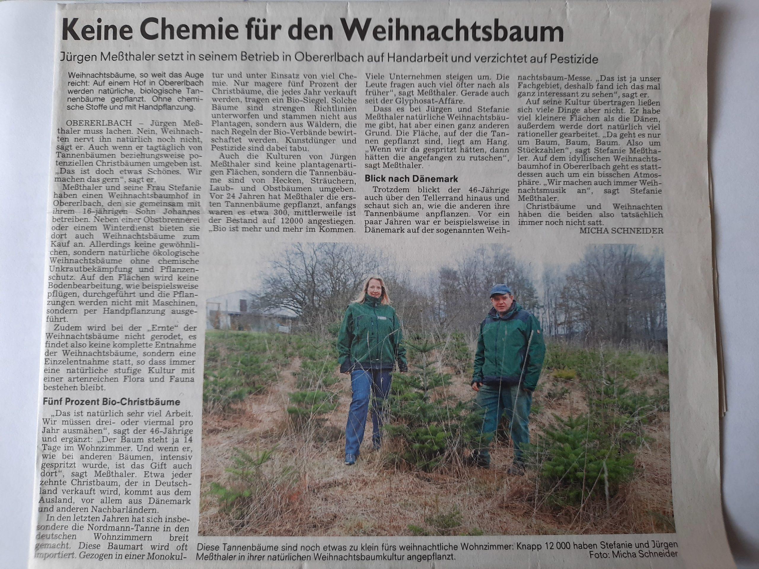 Zeitungsbericht Altmühl-Bote Gunzenhausen 17.12.2018